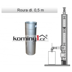 Nerezové komínové vložky - rovný díl dl. 0,5m - 0,6 mm