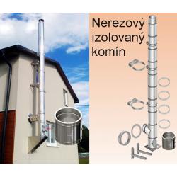 Komín Ø 120mm - odbočka 60° výška 4,00 m nerezový izolovaný komín