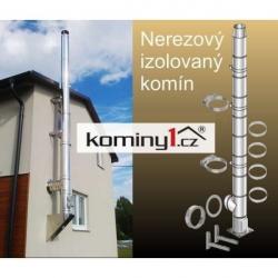 Komín Ø 150 mm - odbočka 90° výška 7,35 m nerezový izolovaný komín