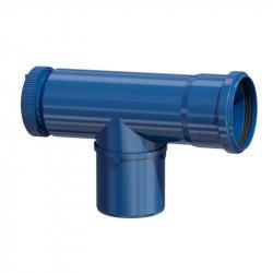 Plastový revizní T-kus v pr. 80 mm - modrý plast