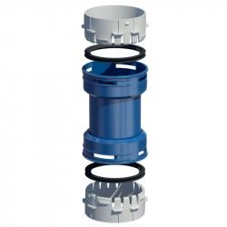 Plastová spojka flex-flex v pr. 80 mm - modrý plast