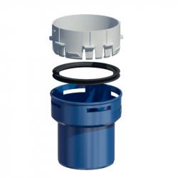 Plastový přechod pevná/flex - spodní v pr. 80 mm - modrý plast