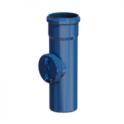 Plastový díl s kontrolním otvorem v pr. 80 mm - modrý plast
