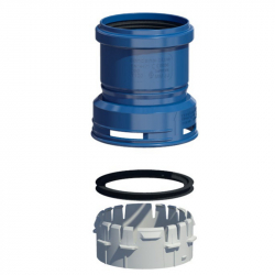 Plastový přechod flex/pevná - horní v pr. 110 mm - modrý plast