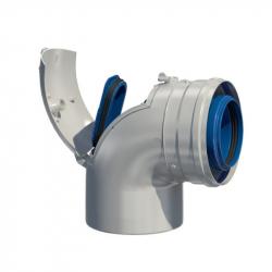 Dvoustěnný (koaxiální) koleno 87° s kontrolním otvorem v pr. 80/125 mm